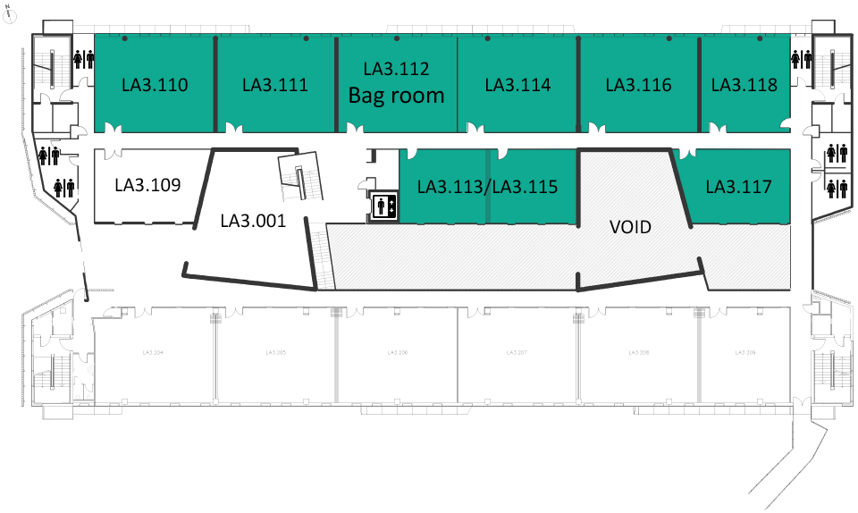 Map indicating the location of the rooms listed for Building LA