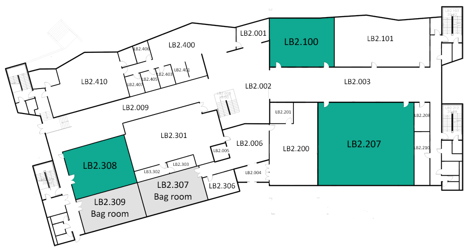 Map indicating the location of the rooms listed for Building LB