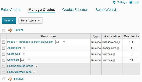Grades view