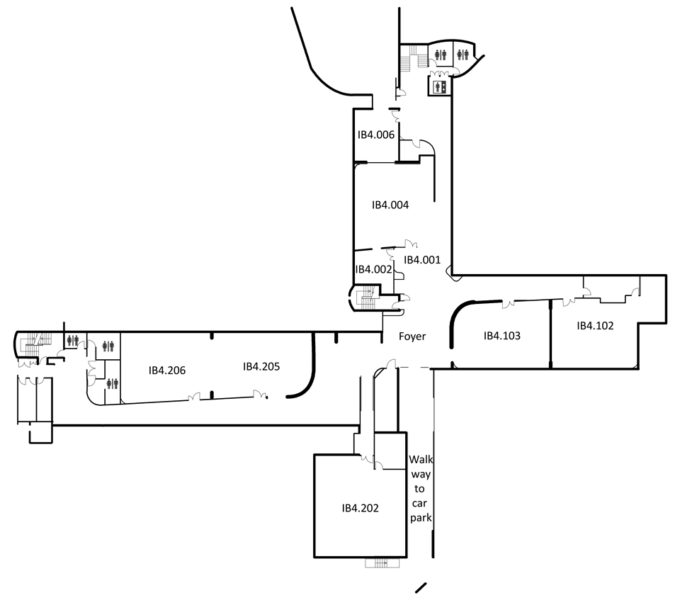Map indicating the location of the rooms listed for Building IB