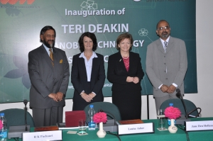 From left, Dr Pachauri, Louise Asher, Professor den Hollander and Dr Adholeya.