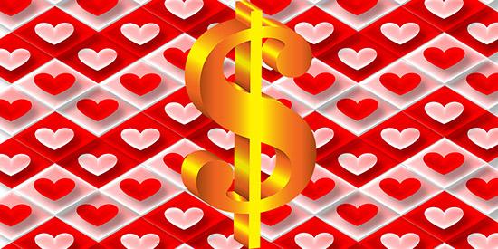 money and hearts