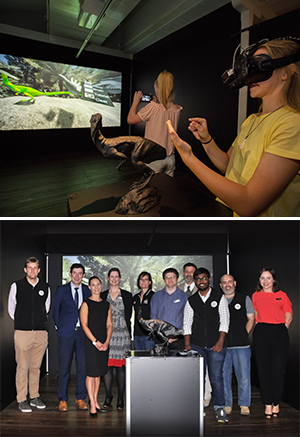 From top Visitors to the 'Little L Project' interact with a 3D/VR dinosaur; Some of the Little L Project team (L-R) Mr Robert Leen, Associate Professor Ben Horan, Dr Kaja Antlej, Professor Karen Hapgood, Ms Robynne Hall, Mr Benjamin Champion, Mr Padraic Fisher, Director National Wool Museum, Mr Gokul Thirunavukkarasu, Ms Marie Allaman, Little L Project Curator National Wool Museum.                Photo: Joel Carnegie, National Wool Museum.