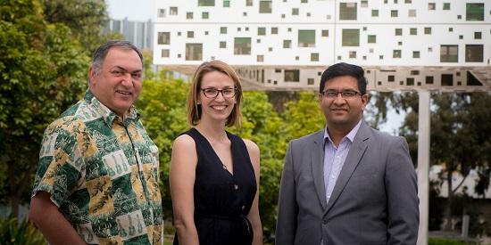 L-R: ADI's Prof Shahram Akbarzadeh, Dr Dara Conduit and Dr Zahid Shahab Ahmed.