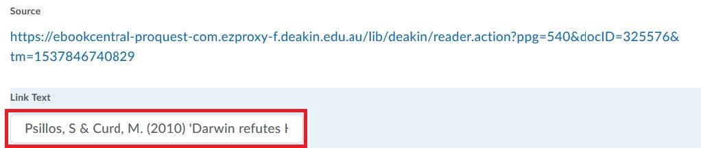 Screenshot of the CloudDeakin admin interface, inserting a link with specific link text