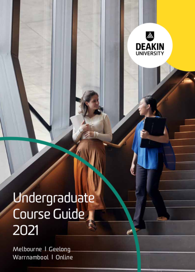 Two undergraduate Deakin students walking down stairs on campus