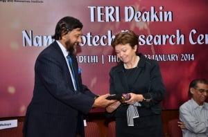 TERI Director General Dr RK Pachauri and Deakin Vice-Chancellor Professor Jane den Hollander.