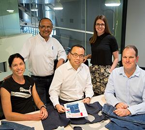 An innovative denim recycling process has helped an IFM team led by Prof Xungai Wang win a Global Change award                               L – R Dr Nolene Byrne, Dr Rangam Rajkhowa, Professor Xungai Wang, Dr Rebecca Van Amber, Dr Christopher Hurren