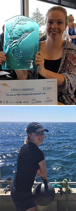 Erin Cumming, PhD candidate with the School of Life and Environmental Sciences, is investigating the possibilities of commercial seaweed farming in Port Phillip Bay.