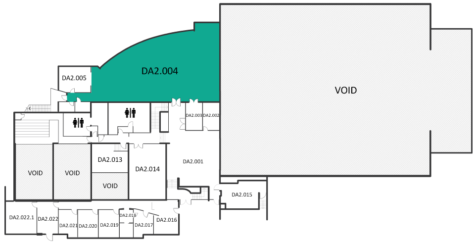 Map indicating the location of the rooms listed for Building DA level 2