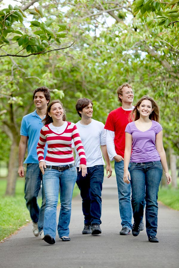 Group of friends walking