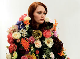 Carmel Wallace, Flowers for Gardens Cloak modelled by Arna-Marie Sagen, 2013, Photograph by Carmel Wallace