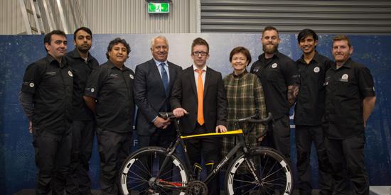 Carbon Nexus team, Greg LeMond, Maxime Maghe, Professor Jane den Hollander