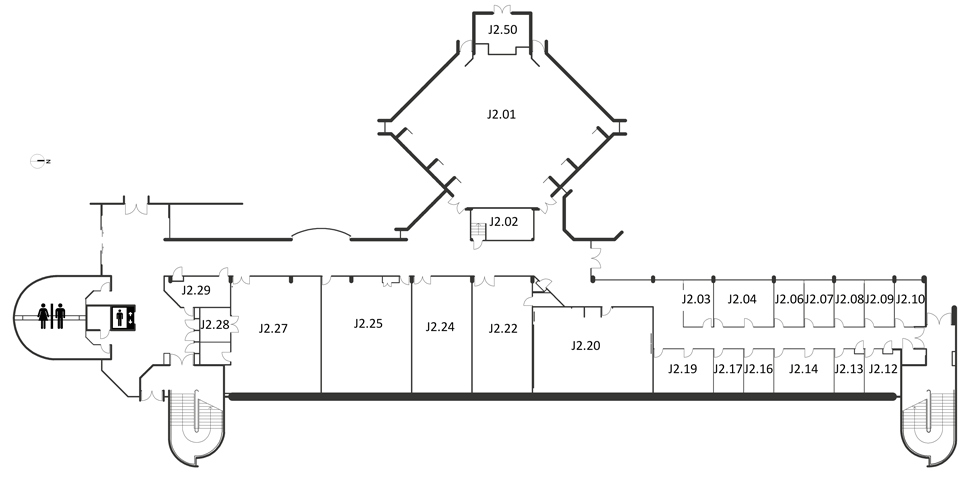 Map indicating the location of the rooms listed for Building J, level 2