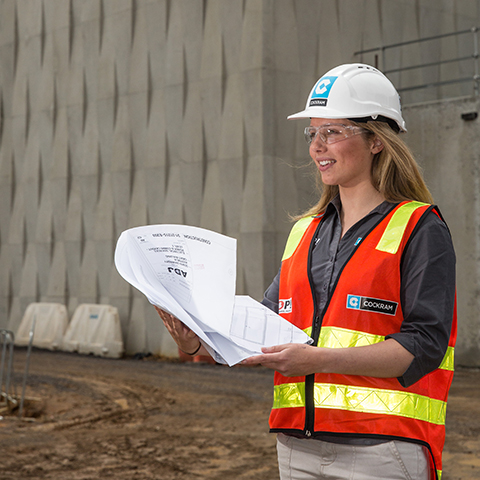 Construction Management student onsite