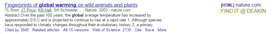 Screenshot of Google Scholar search results, highlighting the FIND IT @ DEAKIN link