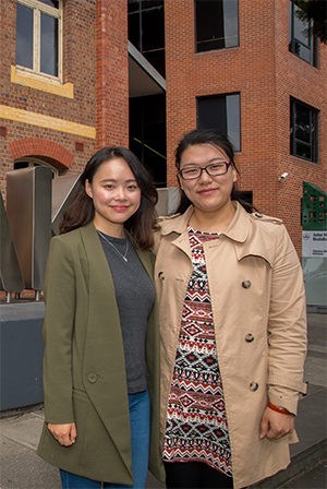 Deakin School of Architecture and Built Environment PhD students Junli Chen (left) and Emma Liu