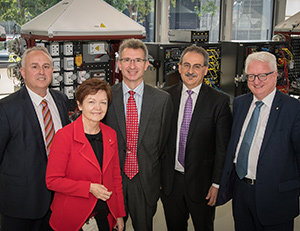 From left: Mr Chad Hymas, Executive General Manager, Commercial Energy Service, AusNet Services; Vice-Chancellor Professor Jane den Hollander AO; Dr Adrian Panow, Director, Deakin Energy; AusNet Services Managing Director Mr Nino Ficca; and Mr John Stanhope AM, Chancellor, Deakin.