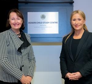 Parliamentary Secretary for Education Ms Judith Graley MP (left) and Professor Nicole Rinehart Deakin Child Study Centre Director