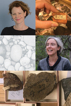 From top: Dr Tiffany Shellam and Professor Andrea Witcomb with Western Australian rock samples found in the British Natural History Museum.