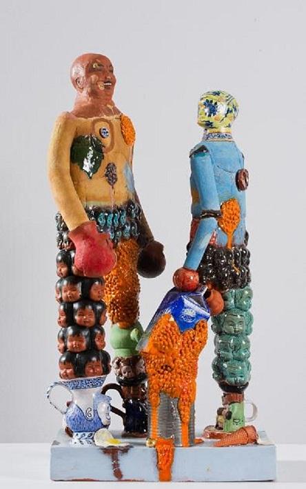 Stephen Bird, Boxers, 2011, clay, pigment, glaze