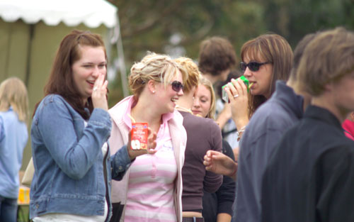 students having a drink