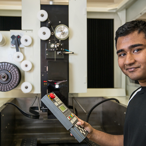 Student with wire cutter