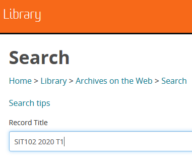 Screenshot of search field