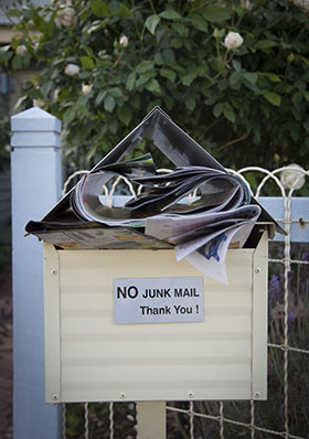 junk mail in letterbox