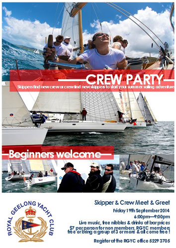 Royal Geelong Yacht Club Crew Party Flyer
