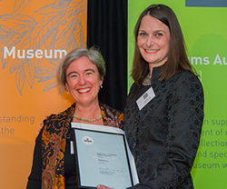 Amy with award, with Andrea Witcomb