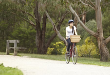 student riding bike